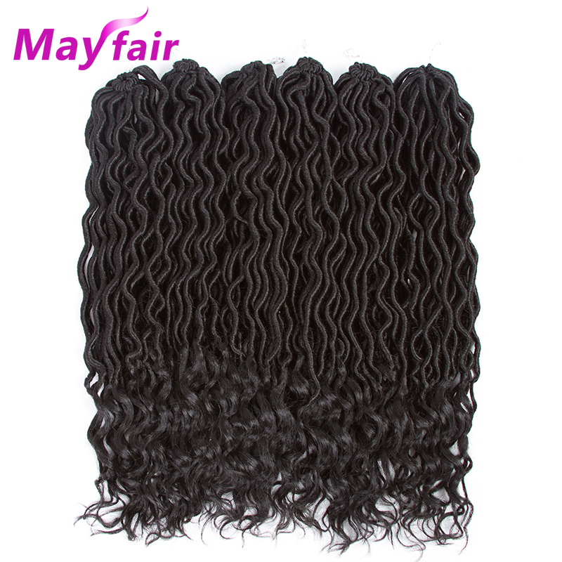 MAYFAIR 18inches 70g/Pack 6packs Faux Locs Crochet Hair Extensions Synthetic Ombre Crochet Braiding Hair Goddess Locs Hairstyle