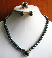 Charming Noble Women'S Black Pearl Necklace Earring Ring(7/8/9)Jewelry Set