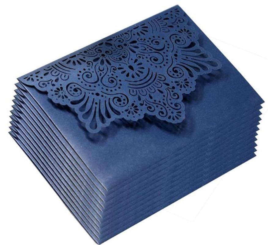 100pcs Navy Blue Invitation Cover Thanksgiving wish invites cards Holder Pocket Wedding Birthday Business Party Favors