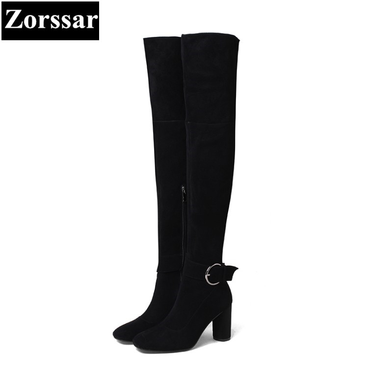 {Zorssar} NEW arrival fashion 8CM High heels Women over the knee Boots Round toe thick heel snow boots autumn winter female shoe 2016 autumn winter hot selling royal blue suede over the knee high heel boots round toe thick heels high boots for woman