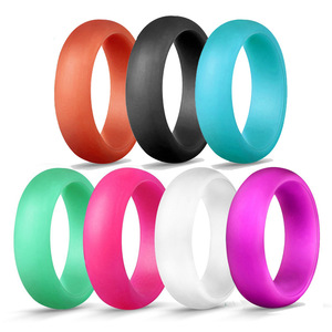 Image 5 - 1PC 5.7MM Silicone Ring Solid Black Red Blue Couples Rubber Food Grade Antibacterial Hypoallergenic FDA Sport Finger Rings Gift