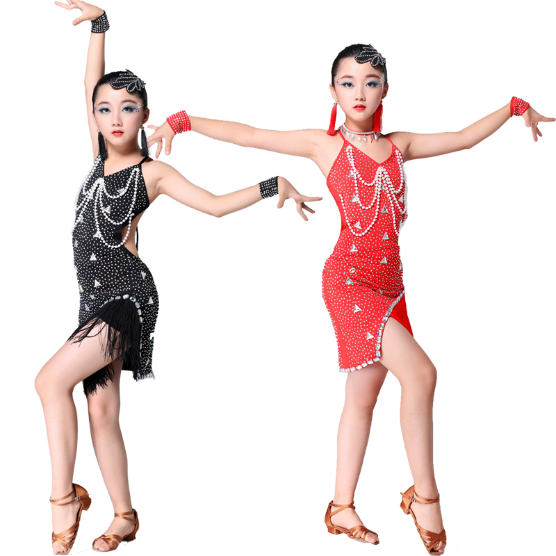 Kids Sequins Stage Tassels Competition Latin Dance Dress Girls Gymnastics Practice Party Dancing Dress Stage Dancewear costumes