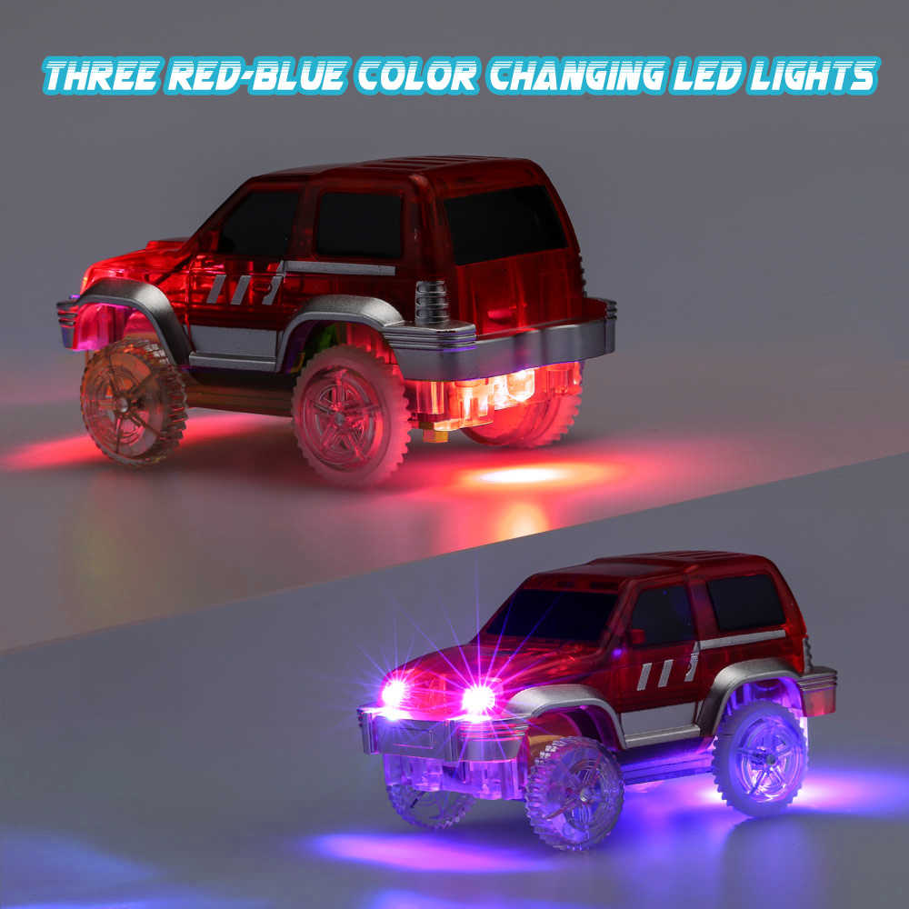 Flashing LED Car For Magic Track Light Up Race Cars Roller Glowing Race Track Electronics Rail Car for Children Christmas Gifts