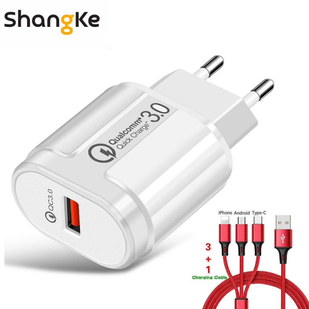 Zielstrebig Quick Charge 3,0 Usb Ladegerät Adapter 5 V 3a Schnelle Eu Ladung 24 Watt Handy Ladegeräte Für Iphone Samsung Mit 3 In 1 Daten Linie Handy-zubehör