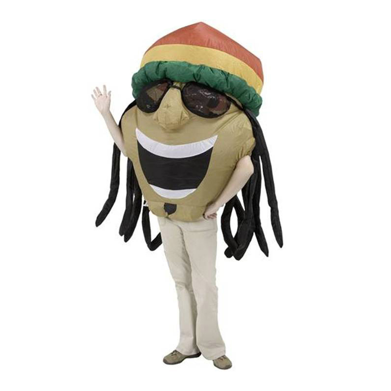 Coolplay Adult Funny Inflatable Jamaican Costume with Big Fat Head Wearing Sunglasses Hat Airblown Illusion Halloween Outfits