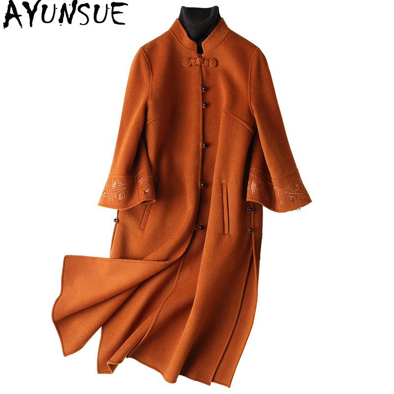AYUNSUE 2018 New Winter 100% Wool Coat Women Chinese Style Embroidery Wool Coat Female Long Autumn Jackets casacos 37107 WYQ1154