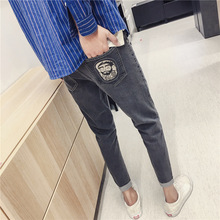Top quality 2019 spring autumn Cropped pants youth Denim pocket printed teenagers jeans male Slim feet Ankle Length pants men цены онлайн