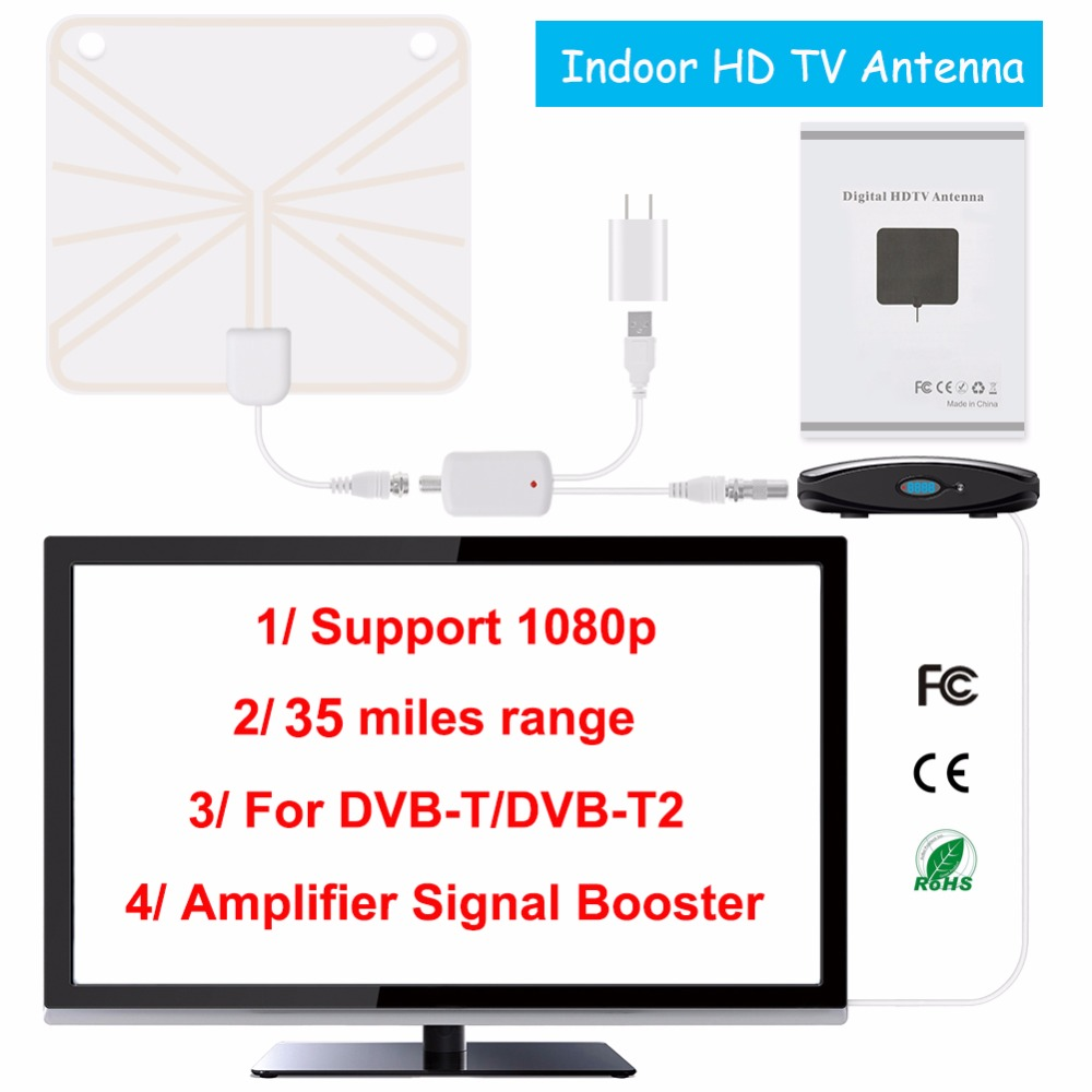 TV Antenna Indoor HD Digital TV Antenna with 35 Miles Long Range Amplifier HDTV Signal Booster Upgraded Version for DVB-T/DVB-T2