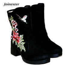 Купить с кэшбэком Ethnic Traditional Floral Embroidery Flock Ankle Boots Rubber Hoof Heels with Zipper Vintage Cotton Casual Fashion Winter Boots