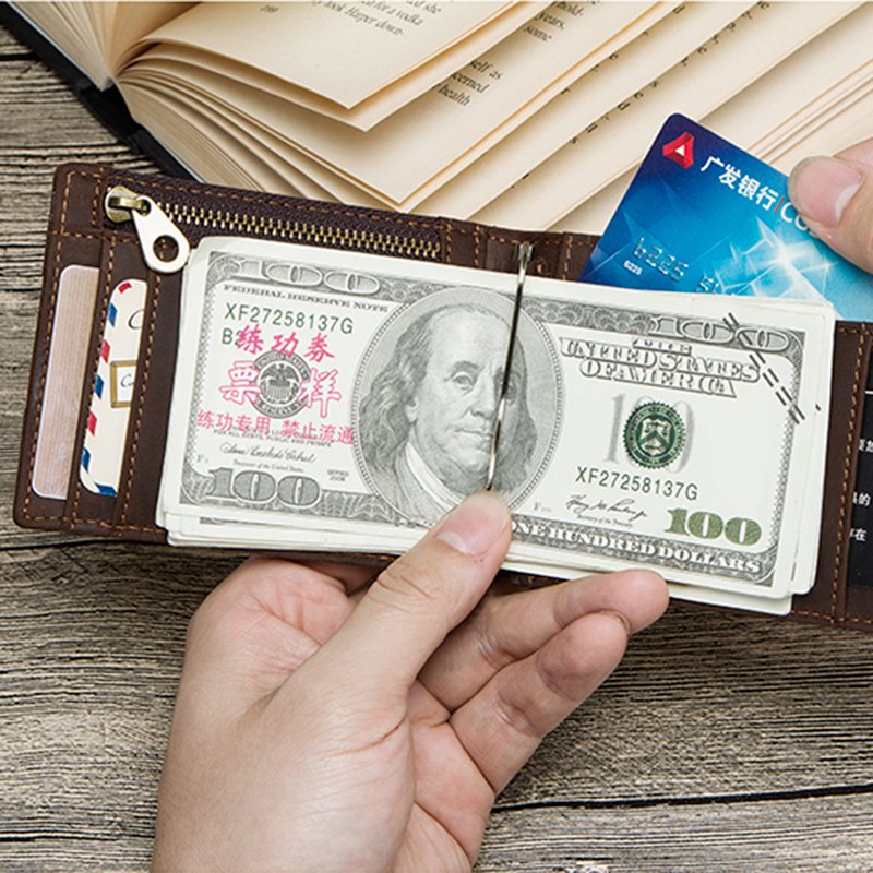 CONTACT'S men RFID Genuine Leather Money Clip Card Wallet Crazy Horse Thin Bifold cash clamp cash holder male Slim RFID Purse 4