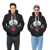 Burst Panda Donut 3D Digital Printing Personalized Zipper Hoodies Plus Velvet Hoodies Men And Women Black