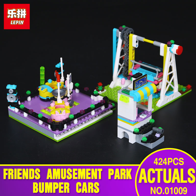 Lepin 01009 424pcs Girl Series  Bumper Cars Amusement Park Building Assembling Block Children Gift Toys Compatible With 41133 lepin 22001 pirate ship imperial warships model building block briks toys gift 1717pcs compatible legoed 10210