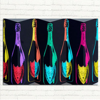 Cartoon Canvas Handpainted Oil Painting Pop Wine Bottles Wall Art Picture For Home Decoration