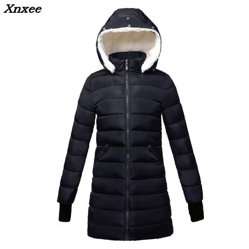 2018 women winter hooded warm coat plus size Warm Wool hat cotton padded jacket female long parka womens wadded jaqueta feminina in Parkas from Women 39 s Clothing