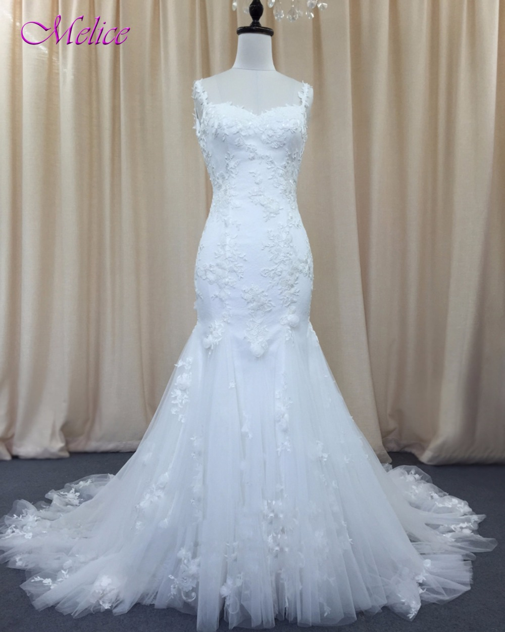 Sweetheart Neckline Lace Mermaid Wedding Dresses New 2019: Melice Sexy Sweetheart Neck Appliques Lace Mermaid Wedding