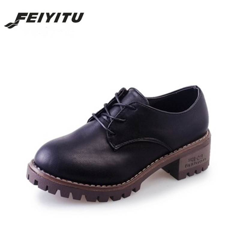 FeiYiTu Small leather shoes in the spring/autumn of 2018 New England College Female wind with coarse heels all-match retro