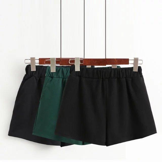 Outono Inverno Shorts Mulheres Plus Size Shorts Elastic Cintura Fina Cor Sólida Calções de Inicialização XZ0856