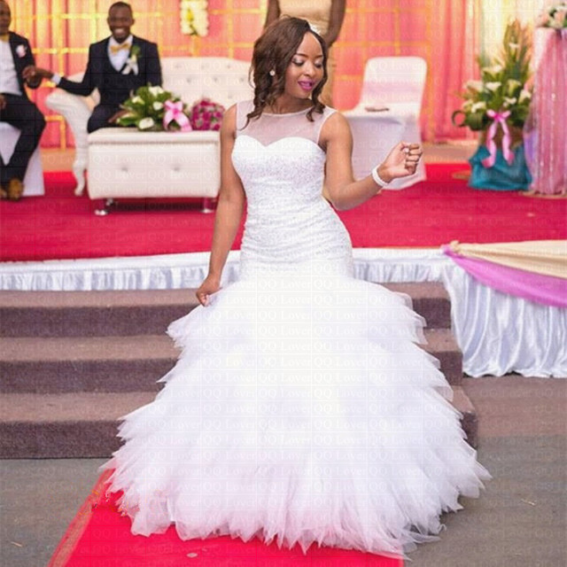 2019 New African Tiered Mermaid Wedding Dress Full Beading Bridal Gown Wedding Gowns