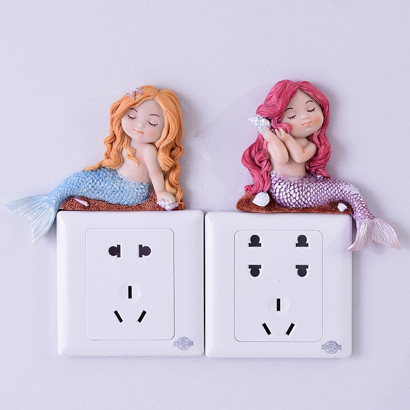 Fashion Mermaid Switch Wall Stickers Creative Cute Socket Protective Stickers Modern Simple 3D Bedroom Posters Home Decoration