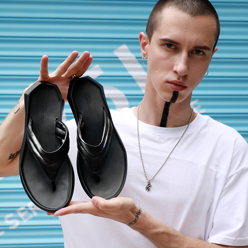 Livre Ao De Couro Genuíno Sandálias Os Lazer Ar Do Praia Fashion Jogo Homens Chinelos Flip Todos Verão Flops Personalidade URqaR