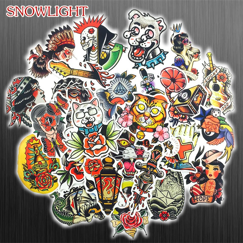50Pcs/lot Old School Tattoo Girl Stickers For Snowboard Laptop Luggage Car Fridge Car- Styling Vinyl Decal Home Decor Sticker
