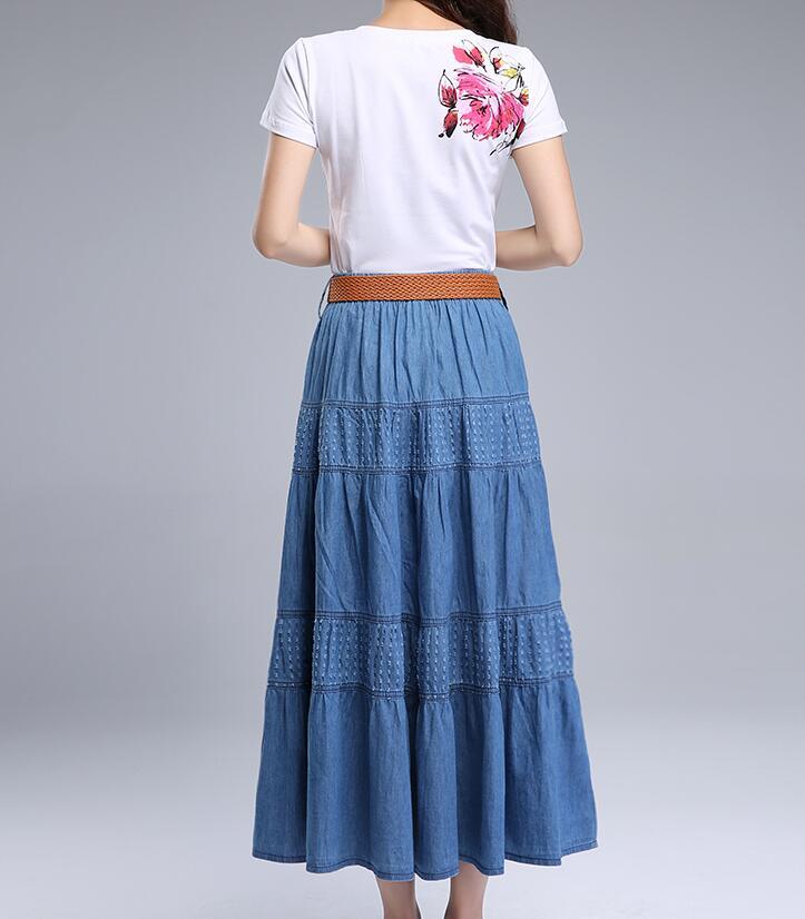 Women Summer Denim Skirts High Waist Plus Size Long Skirt Vintage Solid Color A-Line Jean Skirt Without Belt 2018 Spring A5390