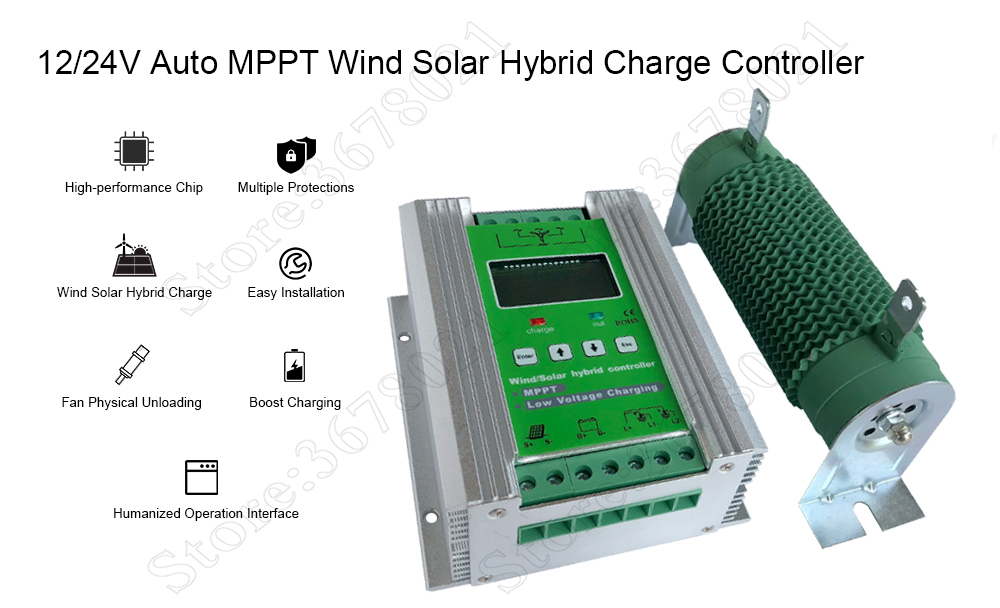 US $164 0 |MPPT Wind Solar Hybrid Boost Charge Controller 12V/24V auto  apply for 800W 600W wind turbine generator +600W 400W solar panels-in Solar