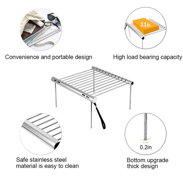 Stainless steel folding BBQ grill for charcoal outdoor