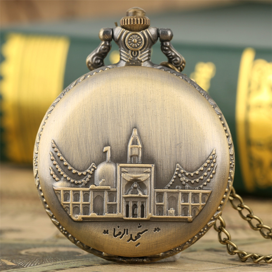 Bronze Castle Buildings Design Quartz Pocket Watch Full Hunter Arabic Numerals Display Round Pendant Necklace Clock For Men Lady