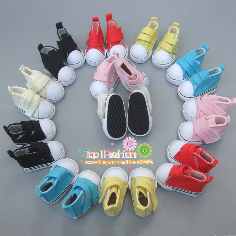 1 pair Assorted Colors 5cm Canvas Shoes For 1/6 BJD Doll Fashion Mini Toy Shoes Bjd Doll Shoes for handmade cloth Doll shoes uncle 1 3 1 4 1 6 doll accessories for bjd sd bjd eyelashes for doll 1 pair tx 03