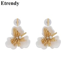 Bohemian Statement Big Flower Drop Earrings 2019 New Holiday Personality Hanging Resin pendientes mujer
