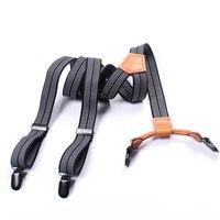 Mantieqingway כתפיות כתפיות גברים עם פסים לנשים אלסטיים מכנסיים מתכוונן כתפיות קליפ על חגורת רצועת אבזם