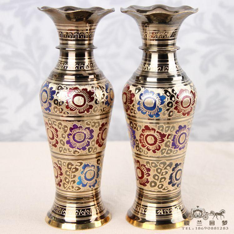 Luster Mottled bouteille patinée | Long col, Vase en cuivre, outils d'artisanat, décoration de mariage en laiton de 25CM 12 pouces de hauteur 2 pièces
