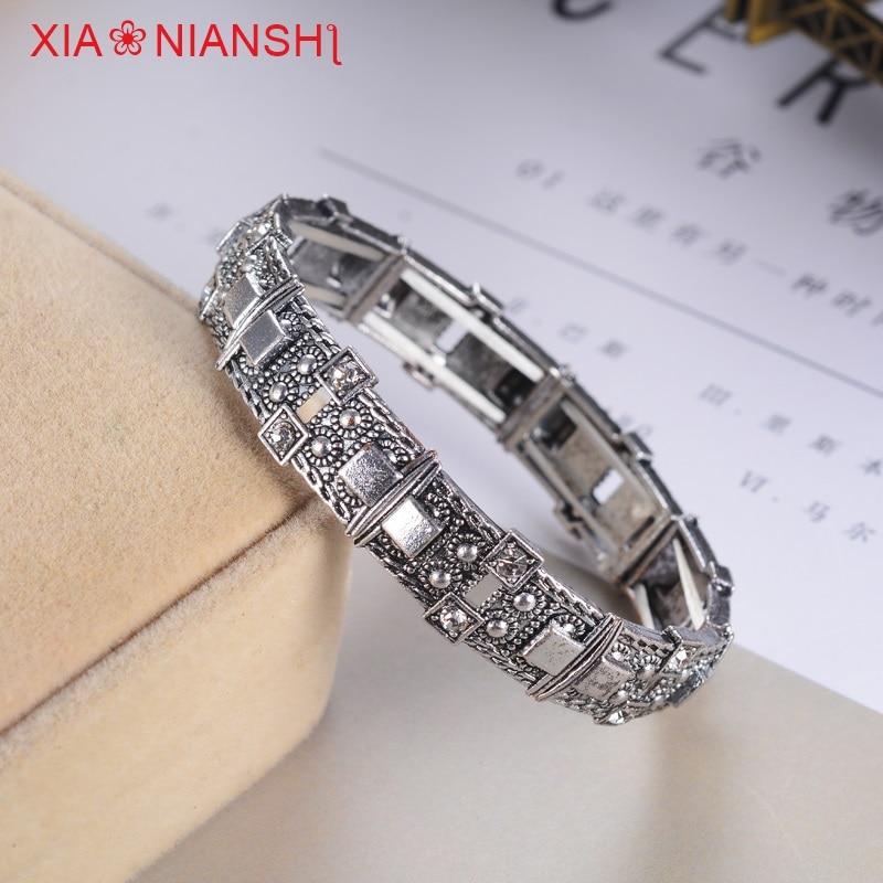 XIAONIANSHI Yeni orijinallı antik qızıl gümüş qolbaq manjet - Moda zərgərlik - Fotoqrafiya 3