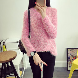 2016 Women Candy Colors Sweaters Fashion Autumn Winter Warm Mohair O-Neck Pullover Long Sleeve Casual Loose Sweater Knitted Tops 5