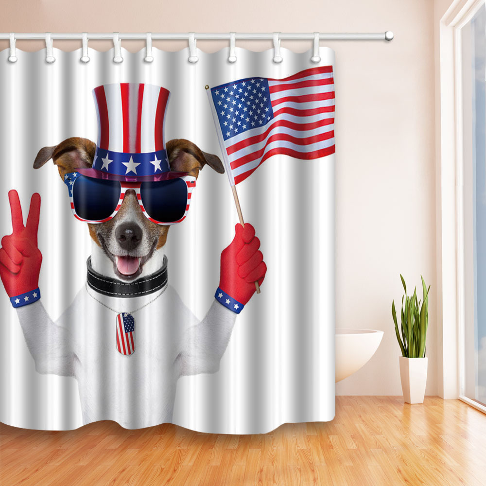 Polyester Shower Curtain Waterproof Bathroom Curtain with Hooks Flag Home Decor Bathroom Accessory 180*180cm 1PC