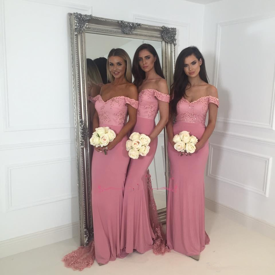 Backless 2019   Bridesmaid     Dresses   For Women Mermaid Off The Shoulder Lace Beaded Long Cheap Under 50 Wedding Party   Dresses