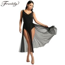 Newest Women Adult Girls Mesh Ballet Dance Leotard Dress Adult Lyrical Modern Dance Practice Costumes Built In Shelf Bra Leotard