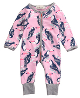 Hot Sale Newborn Toddler Infant Baby Boys Girls Parrot Clothes Long Sleeve Zipper Romper Jumpsuit Outfit