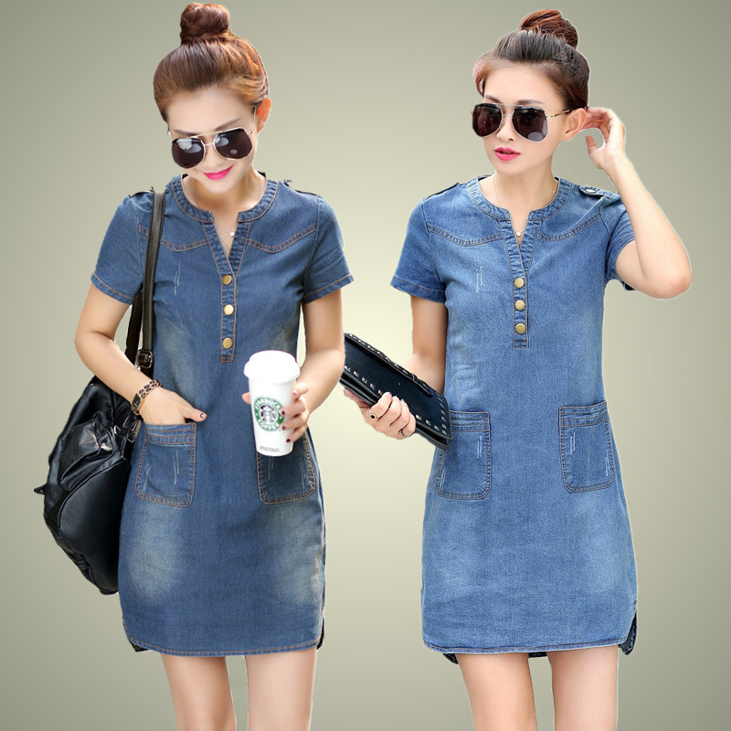 2016 new arrival summer women denim dresses short sleeves loose A word dresses plus sizes v-neck solid denim dresses 176A 25 3