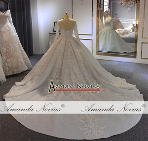 Image 5 - יוקרה כדור שמלת חתונת שמלה ארוך שרוולים mariage 2020 עם מלא ואגלי
