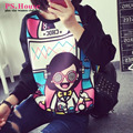 XXXL Plus size Tops Tees Casual Black Long Sleeve T-shirts O-neck Girl Print Cotton Tops 993