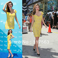 Miranda Kerr 2013 Beautiful Charming Yellow Sheath Cap Sleeve Knee Length Short Lace Celebrity Dress CD045
