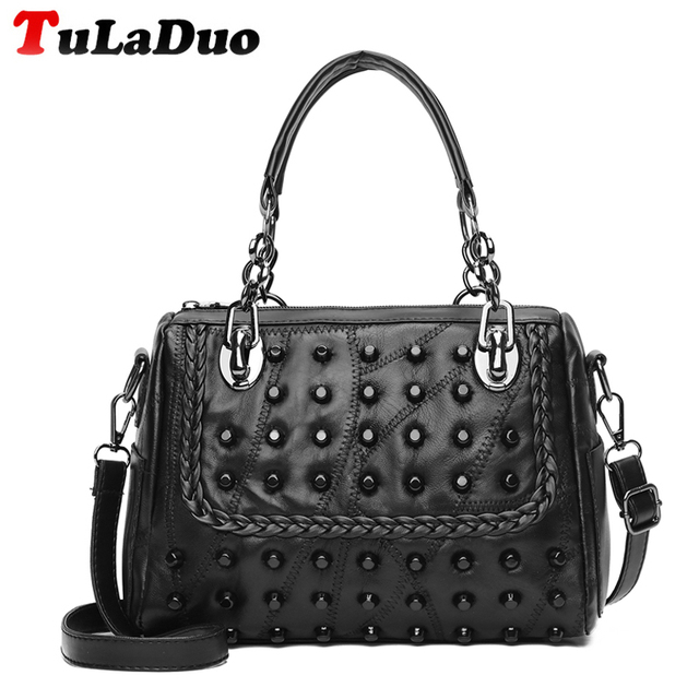 New Black Rivet Handbag Fashion Chain Handbags Luxury Leather Women Shoulder Bags Casual Small Crossbody