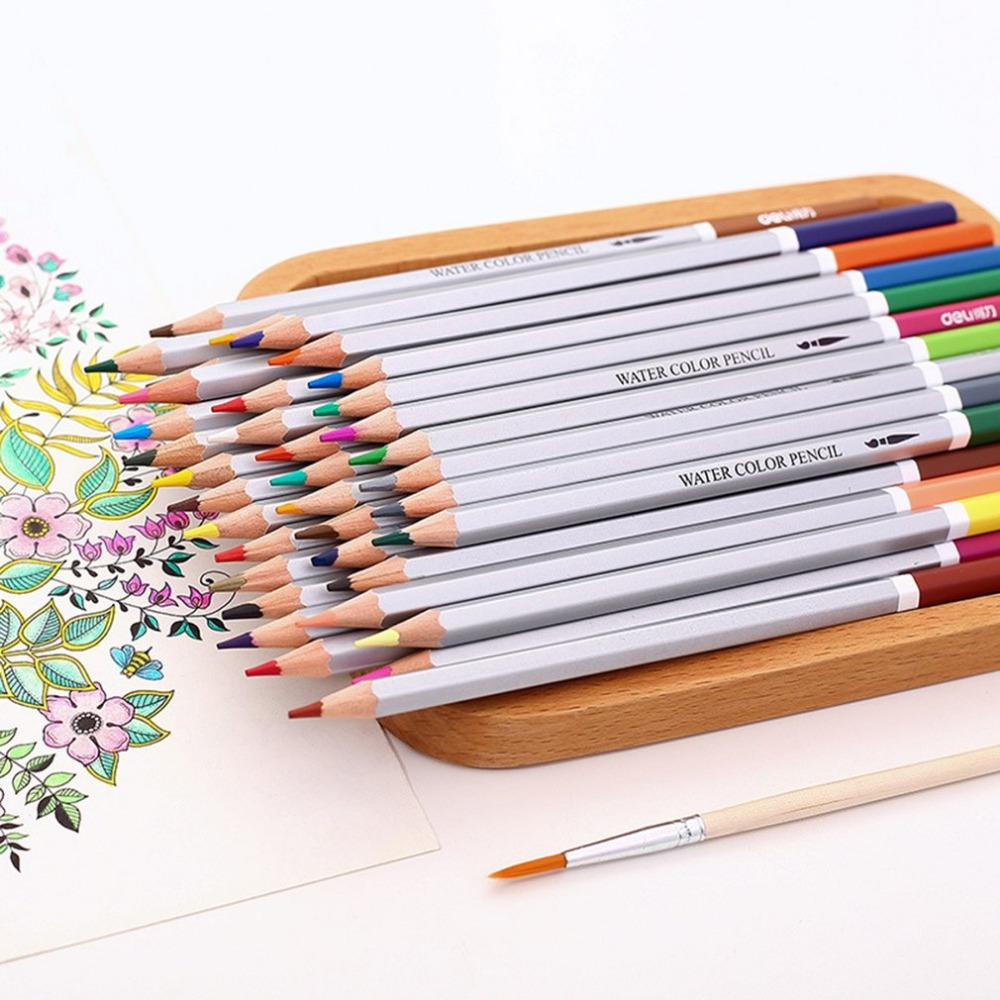 Deli 6524 Non-Toxic Safe Students School Office Water Color Pencils 72 Colors Painting Drawing Watercolor Pencil Set pencil soft safe non toxic standard pencils hb 2b 4b painting professional office school drawing sketching best quality