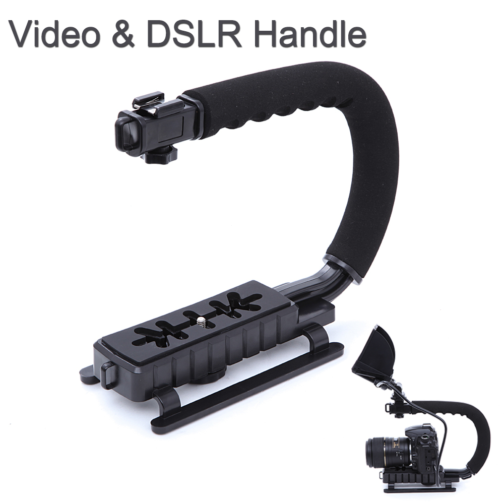 Camera Dslr Video Camera Stabilizer camera stabilizer handle reviews online shopping c shape flash bracket holder video handheld grip for dslr slr phone gopro aee mini dv camcorder