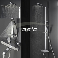 Wall Mounted Bath Tub Massage Shower Faucet with dshower ultra thin square top spray Rain Waterfall Shower Thermostatic Faucets
