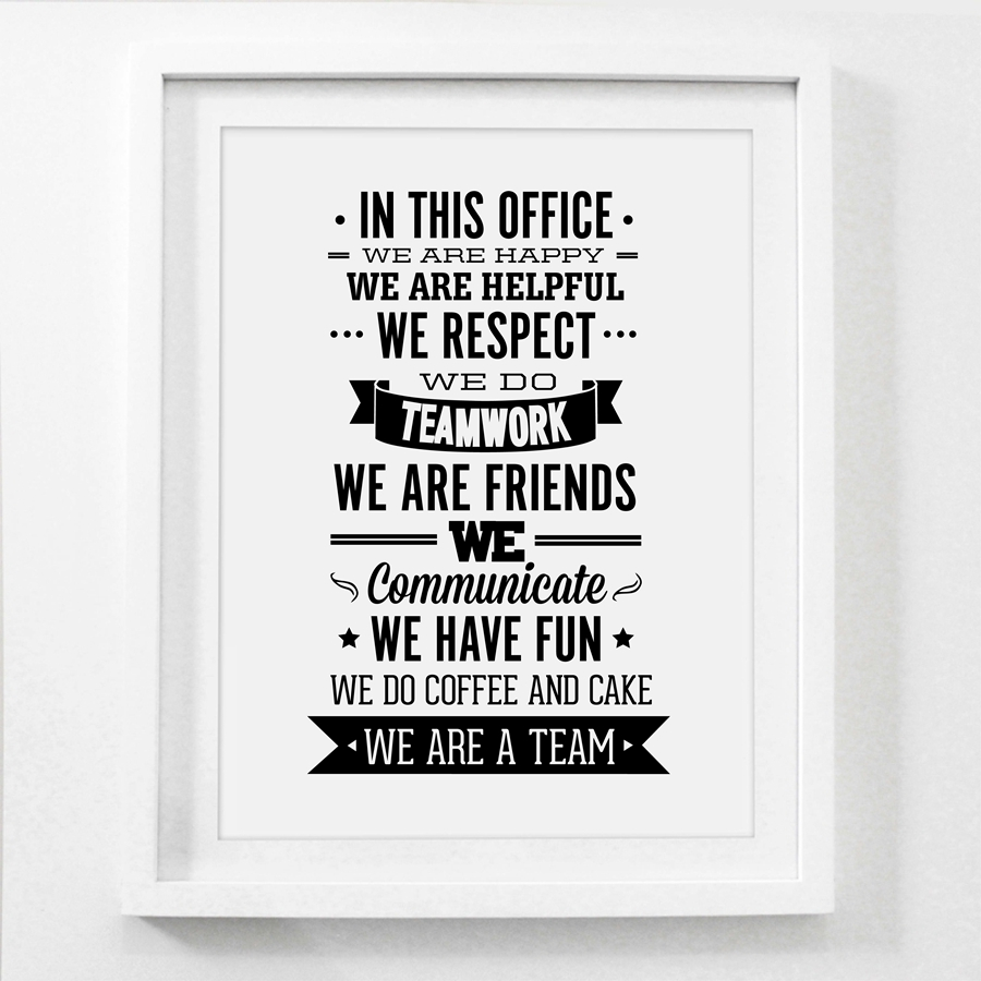 team office rules quote canvas painting wall art team inspiring quote canvas prints office. Black Bedroom Furniture Sets. Home Design Ideas