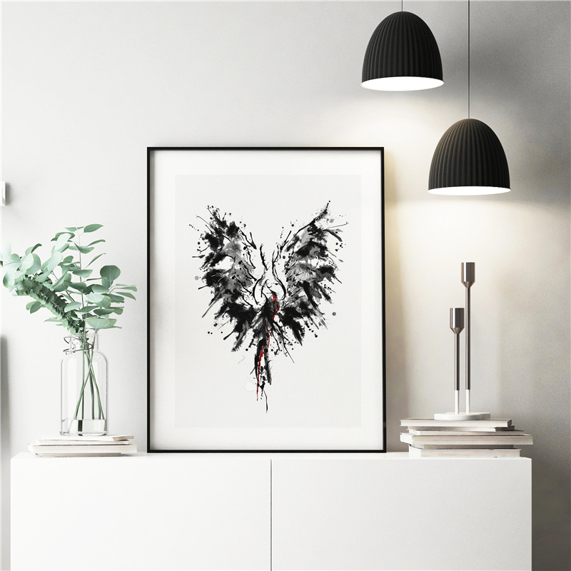 The Abstract Phoenix Minimalist Poster Paintings On Canvas Modern Art  Wall Pictures For Living Room Home Decora