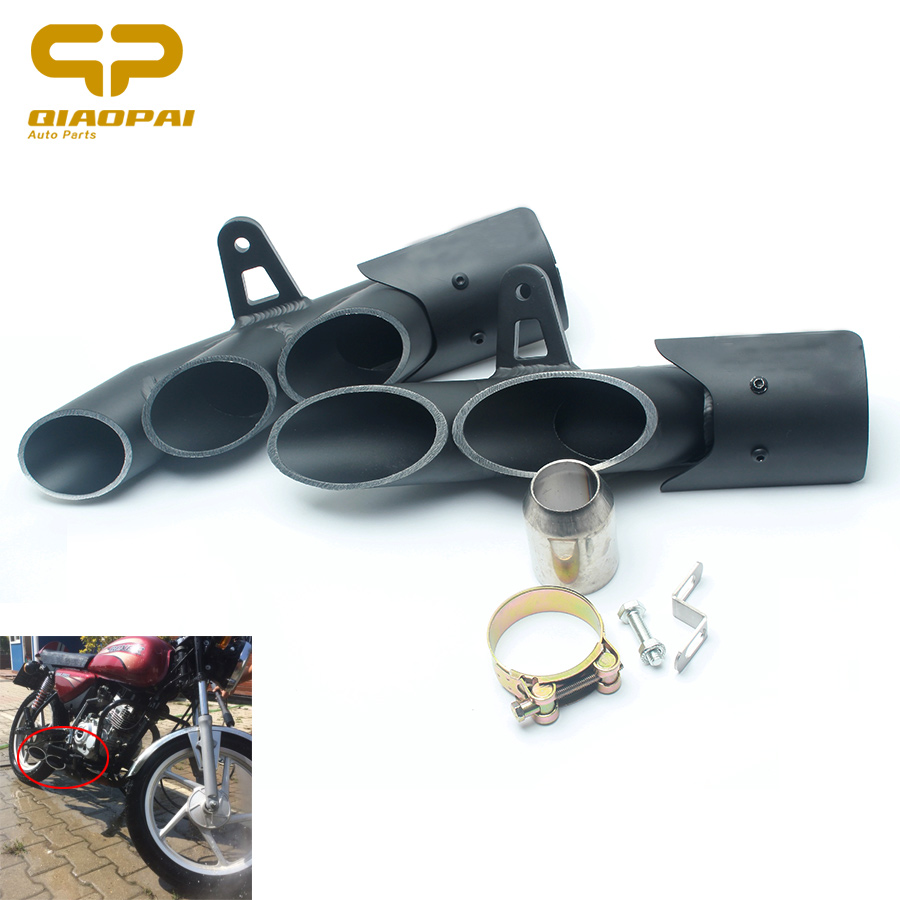 Modified Motorcycle Exhaust Pipe Muffler Moto Escape De Moto 350MM 360MM Double Holes Slip On 06